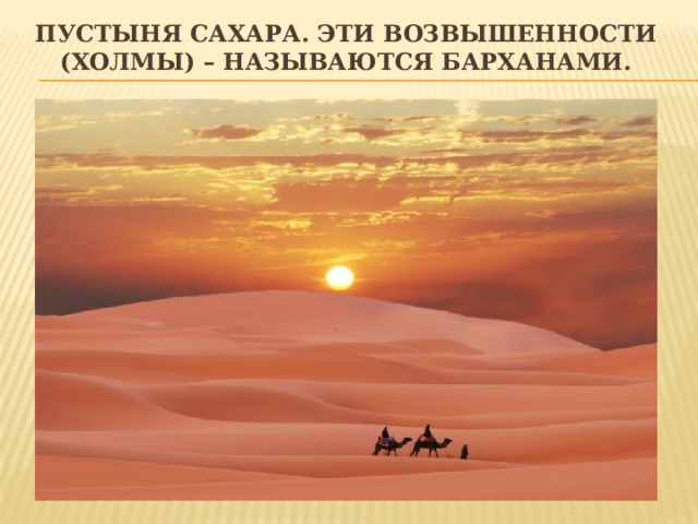 Пустыня сахара. Эти возвышенности (холмы) – называются барханами.