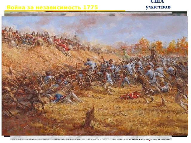 Война за независимость 1775 – 1783 гг. В войне на стороне США участвовали Франция , Испания, Голландия  1777 г. – битва при Саратоги 1781 г. – битва под Йорктауном. 1783 г. – мирный договор. Англия признавала независимость США.
