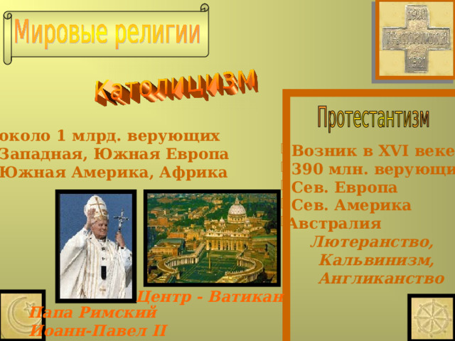 около 1 млрд. верующих  Западная, Южная Европа  Южная Америка, Африка   Возник в XVI веке  390 млн. верующих  Сев. Европа  Сев. Америка Австралия  Лютеранство,  Кальвинизм,  Англиканство Центр - Ватикан Папа Римский  Иоанн-Павел II