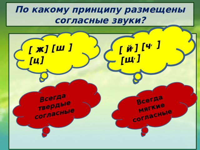 [ ж] [ш ] [ц] Всегда твердые согласные [ й , ] [ч , ] [щ , ] Всегда мягкие согласные По какому принципу размещены согласные звуки?