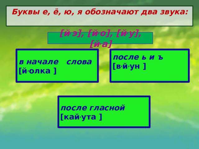 Буквы е, ё, ю, я обозначают два звука:   [й , э], [й , о], [й , у], [й , а] в начале слова [й , олка ] после ь и ъ [в , й , ун ] после гласной [кай , ута  ]