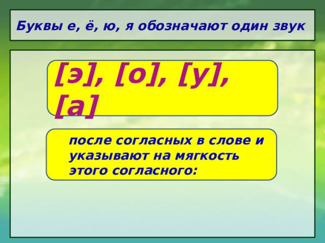 Буквы е, ё, ю, я обозначают один звук [э], [о], [у], [а] после согласных в слове и указывают на мягкость этого согласного: