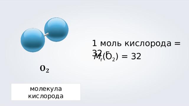 1 моль кислорода = 32 г M r (O 2 ) = 3 2 молекула кислорода