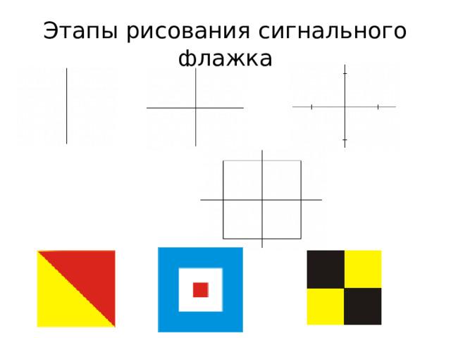 Этапы рисования сигнального флажка