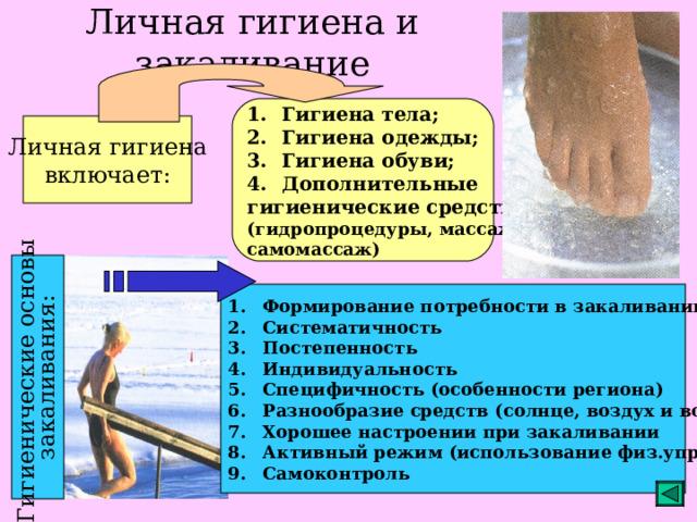 Гигиенические основы закаливания: Личная гигиена и закаливание Гигиена тела; Гигиена одежды; Гигиена обуви; Дополнительные гигиенические средства (гидропроцедуры, массаж, самомассаж) Личная гигиена включает: