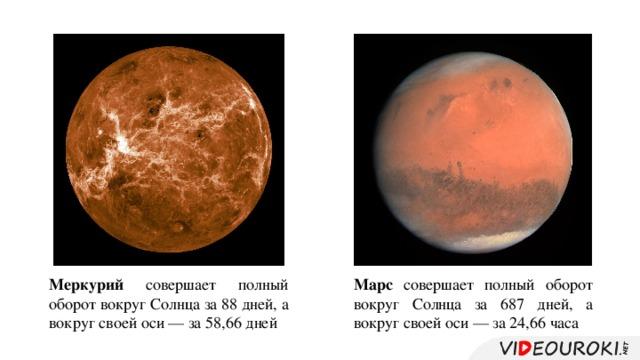 Меркурий совершает полный оборот вокруг Солнца за 88 дней, а вокруг своей оси — за 58,66 дней Марс совершает полный оборот вокруг Солнца за 687 дней, а вокруг своей оси — за 24,66 часа