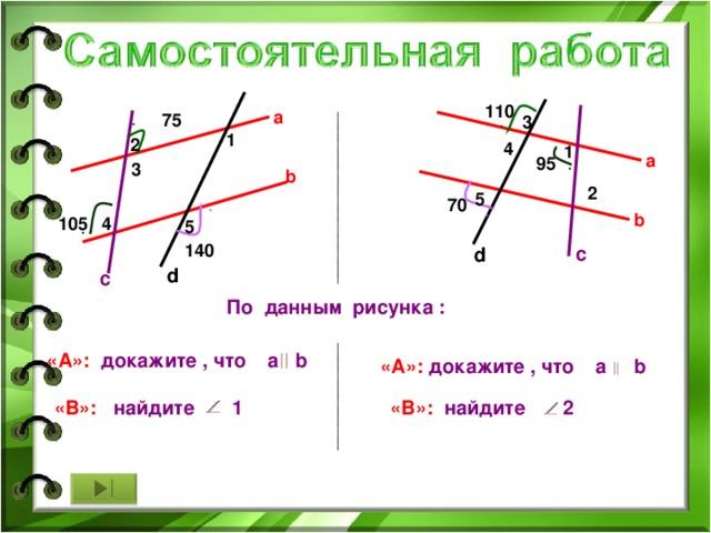 110 a 75 3 1 2 4 1 a 95 3 b 2 5 70 b 105 4 5 140 c d d c По данным рисунка : «А»: докажите , что a b «А»: докажите , что a b «В»: найдите 2 «В»:   найдите 1