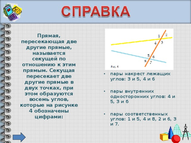 Прямая, пересекающая две другие прямые, называется секущей по отношению к этим прямым. Секущая пересекает две другие прямые в двух точках, при этом образуются восемь углов, которые на рисунке 4 обозначены цифрами: пары накрест лежащих углов: 3 и 5, 4 и 6  пары внутренних односторонних углов: 4 и 5, З и б