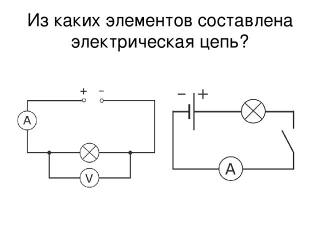 Из каких элементов составлена электрическая цепь?