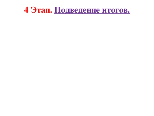 4 Этап. Подведение итогов.