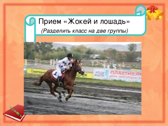 Прием «Жокей и лошадь» (Разделить класс на две группы)