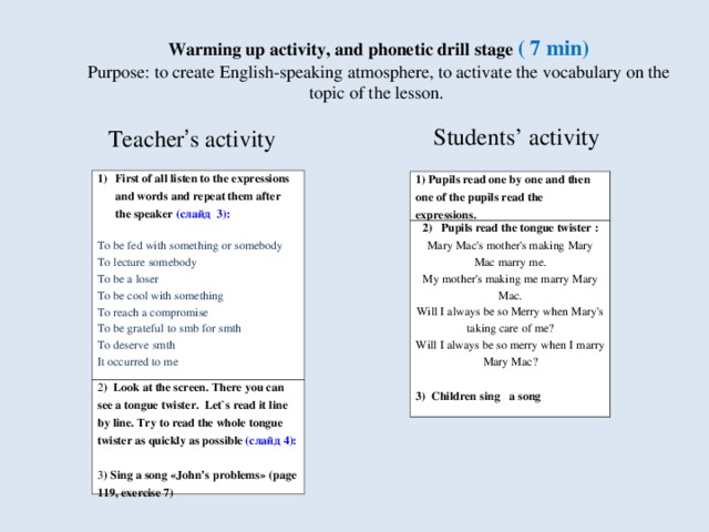 Warming up activity, and phonetic drill stage ( 7 min)  Purpose: to create English-speaking atmosphere, to activate the vocabulary  on the  topic of the lesson. Teacher ' s activity Students' activity First of all listen to the expressions and words and repeat them after the speaker  ( слайд  3):  2 ) Look at the screen. There you can see a tongue twister. Let`s read it line by line. Try to read the whole tongue twister as quickly as possible  (слайд 4): 3 ) Sing a song « John's problems » (page 119, exercise 7 ) To be fed with something or somebody To lecture somebody To be a loser To be cool with something To reach a compromise To be grateful to smb for smth To deserve smth It occurred to me   1) Pupils read one by one and then one of the pupils read the expressions. 2) Pupils read the tongue twister : Mary Mac's mother's making Mary Mac marry me.  My mother's making me marry Mary Mac.  Will I always be so Merry when Mary's taking care of me?  Will I always be so merry when I marry Mary Mac? 3) Children sing a song