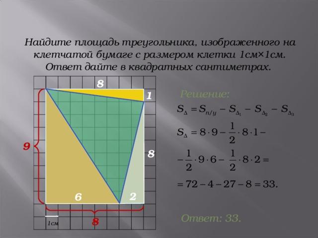 Найдите площадь треугольника, изображенного на клетчатой бумаге с размером клетки 1см×1см. Ответ дайте в квадратных сантиметрах. 8 Решение: 1 9 8 2 6 Ответ: 33 . 8 1см