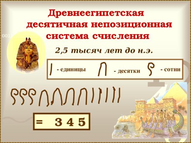 Древнеегипетская  десятичная непозиционная система счисления  2,5 тысяч лет до н.э.  - сотни - единицы - десятки = 3 4 5