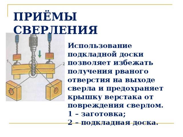 ПРИЁМЫ СВЕРЛЕНИЯ Использование подкладной доски позволяет избежать получения рваного отверстия на выходе сверла и предохраняет крышку верстака от повреждения сверлом. 1 – заготовка; 2 – подкладная доска.