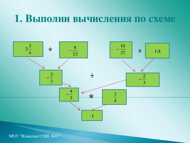 1. Выполни вычисления по схеме 1,8 -1 МОУ