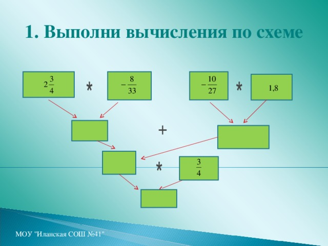 1. Выполни вычисления по схеме  1,8 МОУ