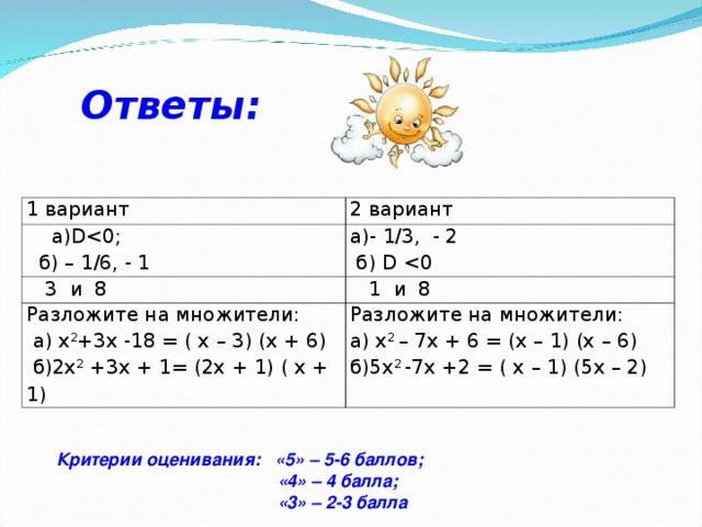 Ответы: 1 вариант 2 вариант  а) D б) – 1/6, - 1 а) - 1/3, - 2  б) D   3 и 8  1 и 8 Разложите на множители:  а) х 2 +3х -18 = ( x – 3) (x + 6)  б)2х 2 +3х + 1 = (2x + 1) ( x + 1) Разложите на множители: а) х 2 – 7х + 6 = (x – 1) (x – 6) б)5х 2 -7х +2 = ( x – 1) ( 5 x – 2) Критерии оценивания: «5» – 5-6 баллов;  «4» – 4 балла;  «3» – 2-3 балла