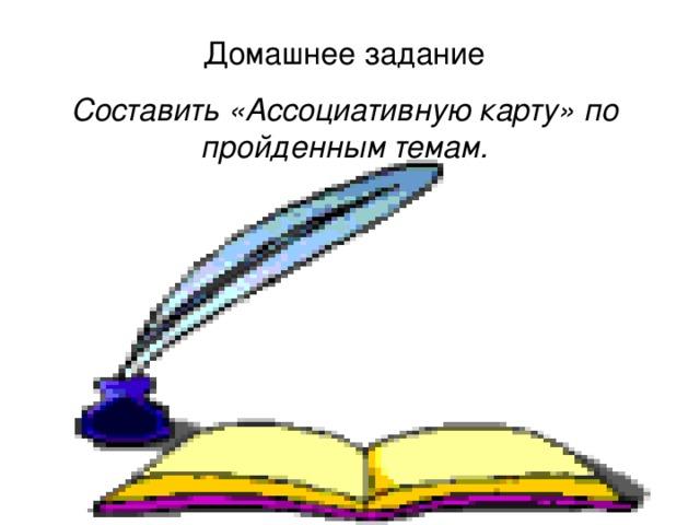 Домашнее задание Составить «Ассоциативную карту» по пройденным темам.