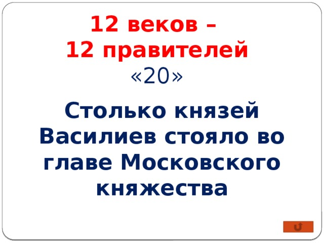 12 веков – 12 правителей «20» Столько князей Василиев стояло во главе Московского княжества