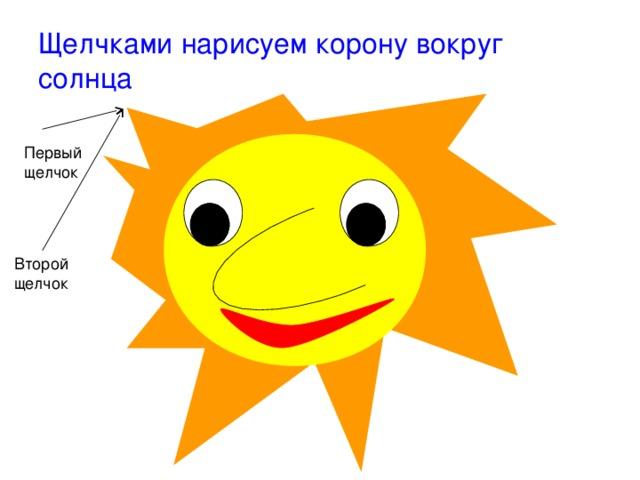 Щелчками нарисуем корону вокруг солнца Первый щелчок Второй щелчок