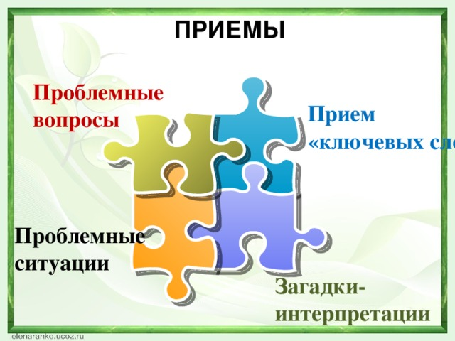 приемы Проблемные вопросы Прием «ключевых слов» Проблемные ситуации Загадки-интерпретации