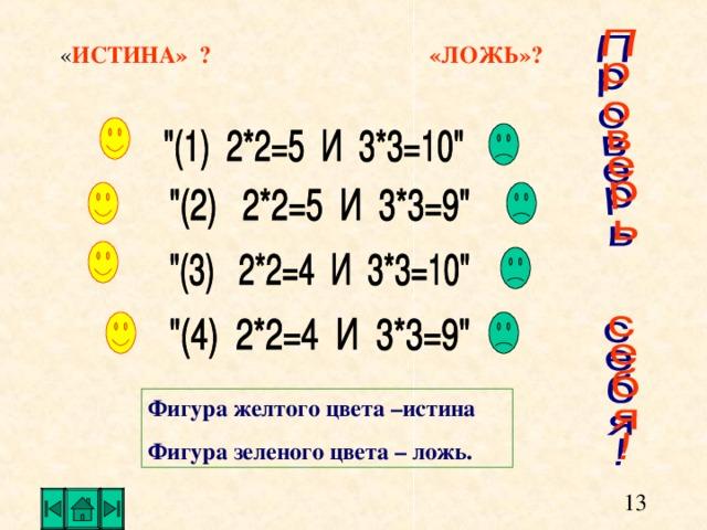 ИСТИНА» ? «ЛОЖЬ»? Фигура желтого цвета –истина Фигура зеленого цвета – ложь.
