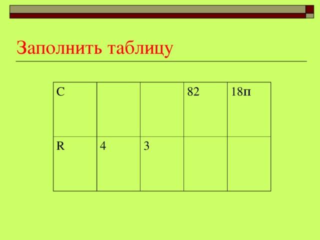 Заполнить таблицу С R 4 82 3 18 π