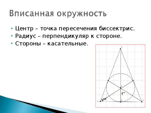 Центр – точка пересечения биссектрис. Радиус – перпендикуляр к стороне. Стороны – касательные.