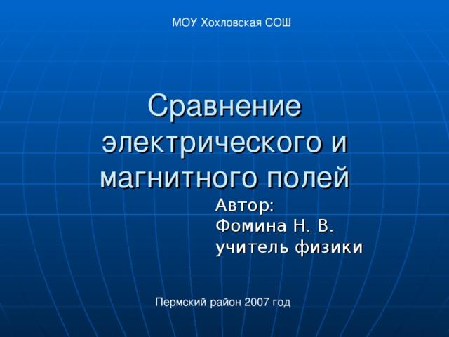 МОУ Хохловская СОШ Сравнение электрического и магнитного полей Автор:  Фомина Н. В.  учитель физики Пермский район 2007 год