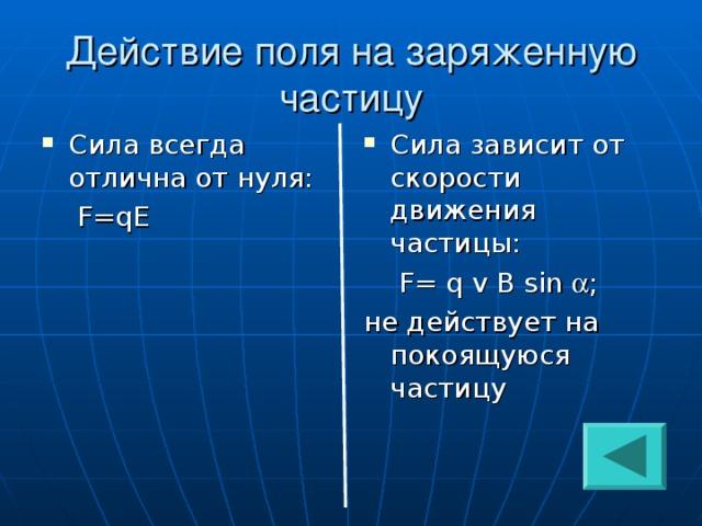 Действие поля на заряженную частицу Сила всегда отлична от нуля: Сила зависит от скорости движения частицы:  F=qE  F = q v B sin  ; не действует на покоящуюся частицу