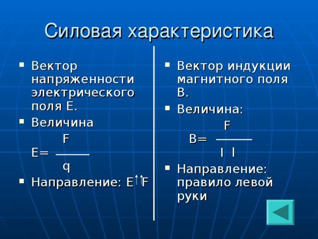 Вектор напряженности электрического поля Е. Величина Вектор индукции магнитного поля В. Величина:   F  Е=   q  F   В=  I l Направление: Е F Направление: правило левой руки