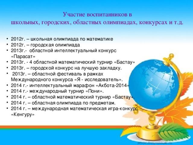 Участие воспитанников в школьных, городских, областных олимпиадах, конкурсах и т.д.