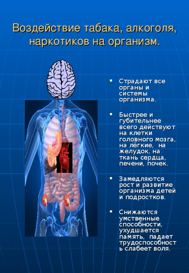 Воздействие табака, алкоголя, наркотиков на организм.