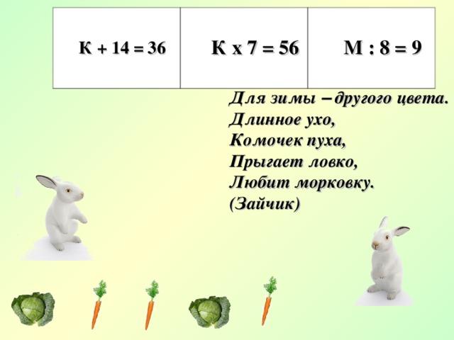 К + 14 = 36 К х 7 = 56 М : 8 = 9 Не барашек и не кот Носит шубу круглый год Шуба серая для лета, Для зимы – другого цвета. Длинное ухо, Комочек пуха, Прыгает ловко, Любит морковку. (Зайчик)