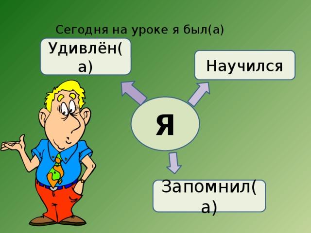 Сегодня на уроке я был(а) Удивлён(а) Научился Я Запомнил(а)