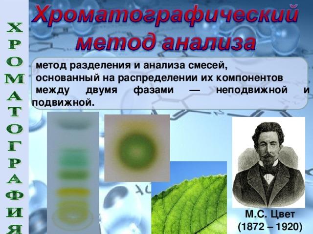метод разделения и анализа смесей, основанный на распределении их компонентов между двумя фазами — неподвижной и подвижной. М.С. Цвет (1872 – 1920)