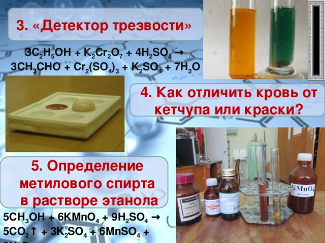 3. «Детектор трезвости» ЗС 2 Н 5 ОН + К 2 Cr 2 O 7 + 4 H 2 SO 4 → 3СН 3 СНО + Cr 2 ( SO 4 ) 3 + K 2 SO 4 + 7Н 2 O 4. Как отличить кровь от кетчупа или краски? 5. Определение метилового спирта в растворе этанола 5СН 3 ОН + 6 KMn О 4 + 9 H 2 S О 4 → 5СО 2 ↑ + 3 K 2 S О 4 + 6 MnS О 4 + 9Н 2 О