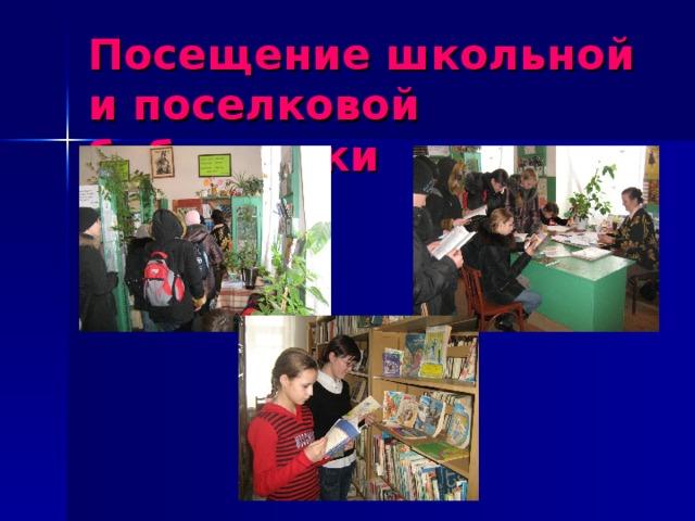 Посещение школьной и поселковой библиотеки
