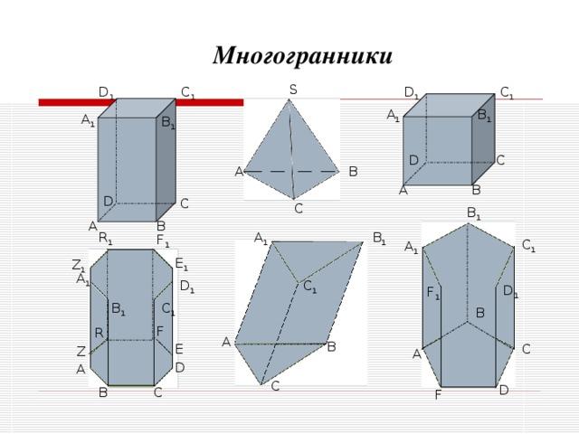 Многогранники S C 1 D 1 C 1 D 1 A 1 B 1 A 1 B 1 C D A B A B D C C B 1 B A B 1 A 1 R 1 F 1 C 1 A 1 E 1 Z 1 A 1 C 1 D 1 D 1 F 1 C 1 B 1 B F R A B E C Z A D A C D C B F