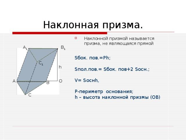 Наклонной призмой называется призма, не являющаяся прямой