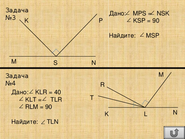 Задача №3 Дано: MPS = NSK  KSP = 90 Найдите: MSP P K M N S M Задача №4 R Дано: KLR = 40  KLT =  TLR  RLM = 90 Найдите: TLN T N L K