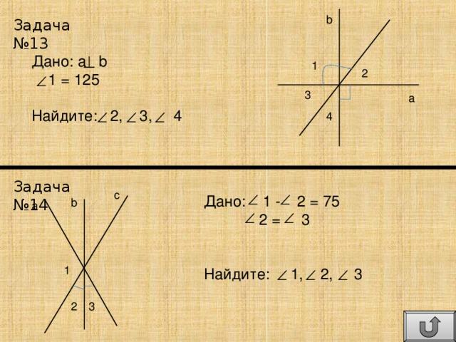 b Задача №13 Дано: a  b  1 = 125 Найдите: 2, 3, 4 1 2 3 a 4 Задача №14 c Дано: 1 - 2 = 75  2 = 3 Найдите: 1, 2, 3 b a 1 2 3