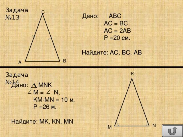 Задача №13 C Дано: АВС  АС = ВС  АС = 2АВ  Р =20 см. Найдите: АС, ВС, АВ B A Задача №14 K Дано: MNK  M = N ,  KM-MN = 10 м,  Р =2 6 м. Найдите: MK , KN , MN N M