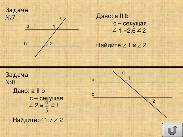 Задача №7 Дано: а II  b  с – секущая  1 =2,6 2 Найдите: 1 и 2 c 1 a b 2 c Задача №8 1 a Дано: а II  b  с – секущая  2  =    1 Найдите: 1 и 2 b 2