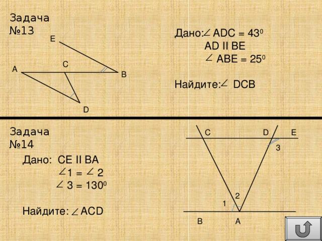 Задача №13 Дано: ADC = 43 0  AD  II  BE  ABE = 25 0 Найдите: DCB E C A B D Задача №14 E D C 3 Дано: CE II BA  1 = 2  3 = 130 0 Найдите: ACD 2 1 A B