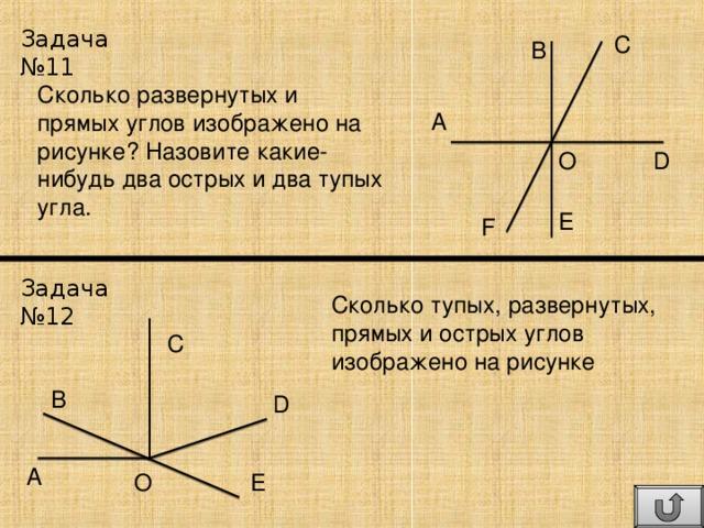 Задача №11 C B Сколько развернутых и прямых углов изображено на рисунке? Назовите какие-нибудь два острых и два тупых угла. A O D E F Задача №12 Сколько тупых, развернутых, прямых и острых углов изображено на рисунке C B D A E O