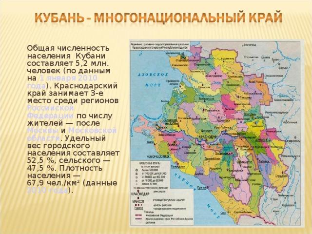 Общая численность населения Кубани составляет 5,2 млн. человек (по данным на 1 января  2010 года ). Краснодарский край занимает 3-е место среди регионов Российской Федерации по числу жителей— после Москвы и Московской области . Удельный вес городского населения составляет 52,5%, сельского— 47,5%. Плотность населения— 67,9чел./км² (данные 2010 года ).