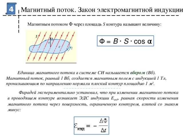 4 Магнитный поток. Закон электромагнитной индукции Магнитным потоком Φ через площадь S контура называют величину: Φ = B · S ·cosα  Единица магнитного потока в системе СИ называется вбером (Вб). Магнитный поток, равный 1Вб, создается магнитным полем с индукцией 1Тл, пронизывающим по направлению нормали плоский контур площадью 1м 2 .  Фарадей экспериментально установил, что при изменении магнитного потока в проводящем контуре возникает ЭДС индукции E инд , равная скорости изменения магнитного потока через поверхность, ограниченную контуром, взятой со знаком минус: