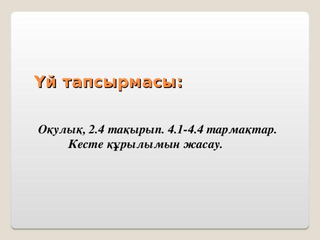 Үй тапсырмасы:  Оқулық, 2.4 тақырып. 4.1-4.4 тармақтар. Кесте құрылымын жасау.